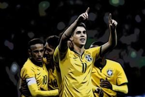 Brasil equipo celebra un gol