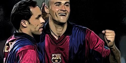 Luis Enrique y Sergi Barjuan en su época cómo jugadores.