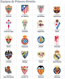 Equipos de primera división